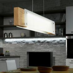 LED-Pendelleuchte mit Echtholz aus Eiche und satiniertem Glas