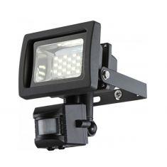 Moderner LED-Baustrahler aus Aluminium in grau mit klarem Glas - schwenkbar, inklusive Sensor - 10 Watt