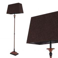 Nostalgische Stehleuchte mit Stofflampenschirm in Braun