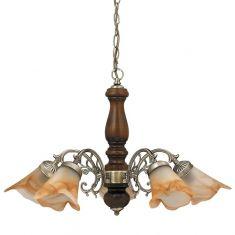 Pendelleuchte 5 flammig, Metall in Bronze, Holz in Walnuss mit  Alabasterglas