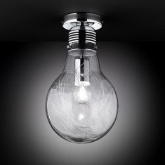 Pfiffige Deckenleuchte in Glühbirnenform - Klarglas - Chrom - Höhe 37cm - Durchmesser 20cm