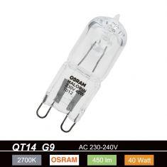 QT14 G9 40W 230V klar, dimmbar