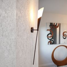 Wandfackel im Landhaustil - Braun - Antik  - Glas Weiß, Alabaster-Optik