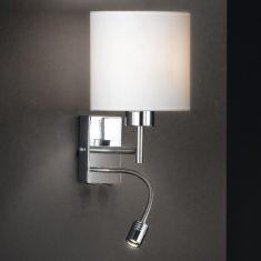 Wandleuchte in Nickel matt/Chrom - Verstellbares Gelenk - Flexarm inkl. Power LED - Lampenschirm weiß - inklusive  E27 AGL 40W