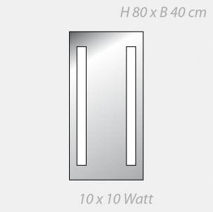 Kristallspiegel FineLine mit seitlicher Prismenabdeckung - 2 x 5 Leuchtstellen - 80 x 40cm 10x 10 Watt, 80,00 cm, 40,00 cm
