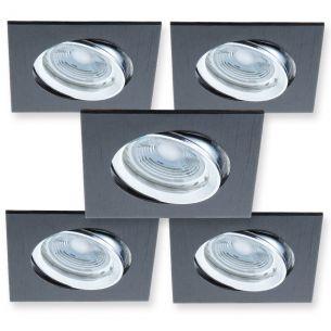 LED-Einbaustrahler - 5er-Set - Metall - Schwarz - Inklusive GU10-LED-Leuchtmittel à 5 Watt  346 Lumen  2700 Kelvin