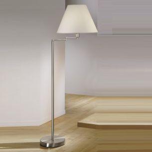 Stehlampe Hilton in Nickel mit Stoffschirm 45 cm schwenkbar