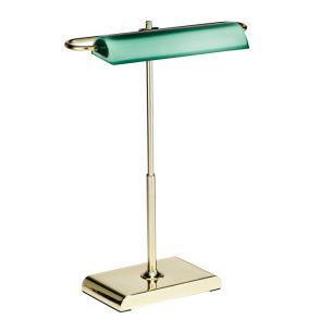 LED-Bankerslamp Wallstreet 24-Karat Gold, grünes Glas