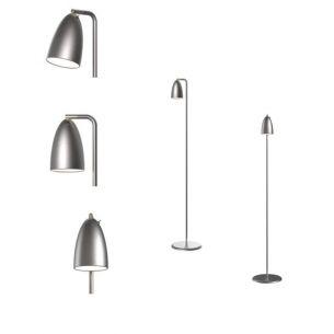 LED-Design Stehleuchte - designt by Bønnelycke mdd - dreh- und schwenkbar, inklusive 3 Watt LED, Leuchte in Stahlfarbig stahlfarbig, gebürstet