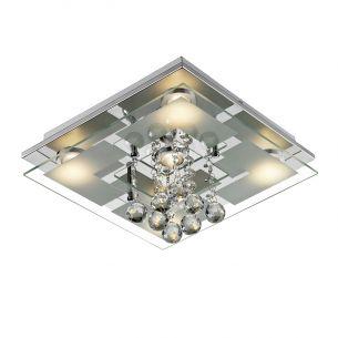 LED-Deckenleuchte Chrom, Glas, 30x30x13, inklusive 5 x 5W SMD-LED, je 450lm - neutralweiß 4000K A+