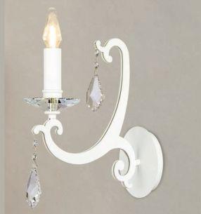 Wandleuchte im Florentiner-Stil - 1-flammig - Oberfläche Weiß - Kristallanhänger
