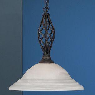 Pendelleuchte im Landhausstil, rustikal in rostfarbig antik mit Alabasterglas in weiß