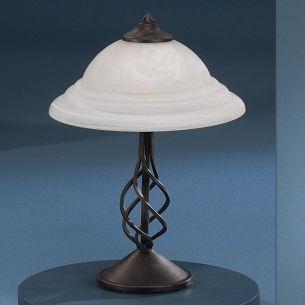 Tischleuchte im Landhausstil, rustikal in rostfarbig antik mit Alabasterglas in weiß
