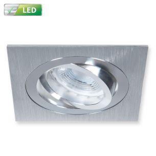 Einbaustrahler für die Decke - Dimmbar - Aluminium gebürstet - Eckig - Inklusive LED 1 x GU10  5,8 Watt