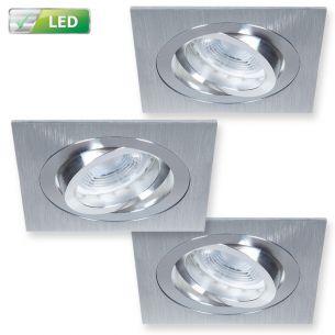 Einbaustrahler 3er Set - Für die Decke - Dimmbar -  Aluminium gebürstet - Eckig - Inklusive LED 3 x GU10  5,8 Watt