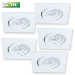 Einbaustrahler für die Decke - 5er Set  -Dimmbar - Spot Weiß - Eckig Strahler Spot - Inklusive LED 5 x GU10  5,8 Watt