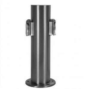 Steckdosensäule mit  2x 1 Steckdose rund - aus Edelstahl, IP54