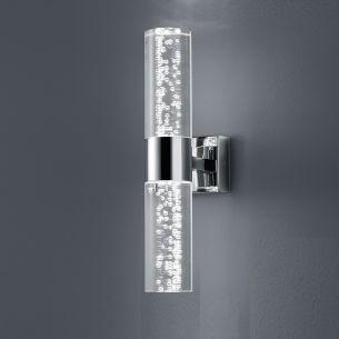 LED-Wandleuchte - 2-flammig - Badezimmertauglich - Chrom - Acrylglas mit Blasendekor - Inklusive LED 2 x 3,2 Watt  300 Lumen  3000 Kelvin