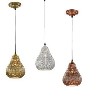Pendelleuchte im orientalischen Stil aus Metall - Ø 19cm, wählbar in Altmessing, Grau antik oder Kupfer antik