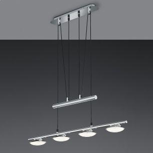 Höhenverstellbar LED-Pendelleuchte - Chrom - Acrylglasschirme - 4-flammig - Inklusive LED 4 x  3,8 Watt  1400 Lumen  3000 Kelvin