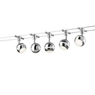 LED-Seilsystem in Chrom mit 5 Spots, max. Länge 5m, inklusive  5x3,8W 3000K/ 5x350Lm, warmweiß