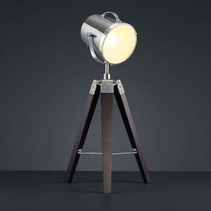 Moderne Tischleuchte - Holzfuß - Chrom - Geeignet für E27 maximal 60 Watt