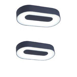 Ovale LED-Leuchte aus Aluminiumguss und Acrylglas für Wand oder Decke geeignet , IP54, Lichtfarbe warmweiß, 3000°K