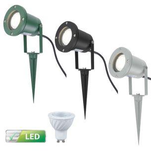 LED-Erdspieß-Strahler für Ihren Außenbereich -  Schwenkbar - 3 Farben - Inklusive LED GU10 Leuchtmittel 3 Watt