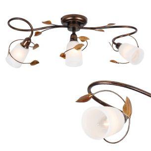 Rustikale Deckenleuchte - Braun-antik mit Gold - 3- oder 5-flammig - Für Leuchtmittel E14  40 Watt