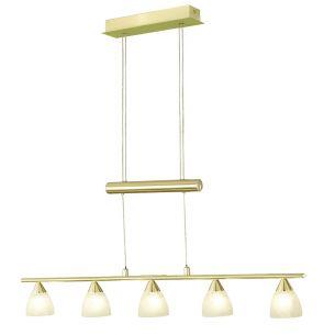 Klassische Zugpendelleuchte - 5-flammig - Messing matt - Alabastergläser - Inklusive Leuchtmittel 5 x G4  20 Watt