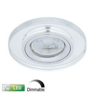 Dimmbarer Einbaustrahler mit Glasrahmen - Silber - Rund - Inklusive LED-Leuchtmittel 1 x 5,8 Watt warmweiss
