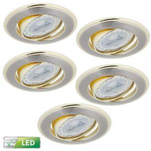 Einbaustrahler mit goldenen Elementen- 5er-Set - Rund - Schwenkbar - Für Leuchmittel 5 x LED 5 Watt, GU10
