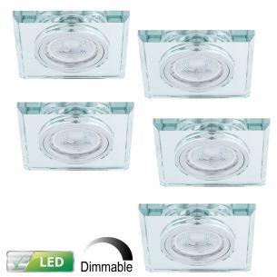 Dimmbarer Einbaustrahler mit Glasrahmen - 5er-Set - Eckig - Silber - Inklusive LED-Leuchtmittel 5 x GU10 5,8 Watt warmweiss