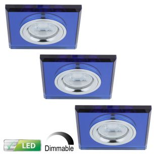 Dimmbarer Einbaustrahler mit Glasrahmen - 3er-Set - Eckig - Blau - Inklusive LED-Leuchtmittel 3 x GU10  5,8 Watt