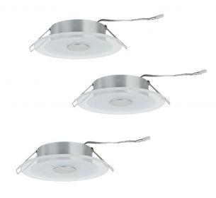LED Einbauleuchten Set - aus Aluminium und sat. Glas - 3 Leuchten inklusive LED, je 6 W/450lm  2700K warmweiß