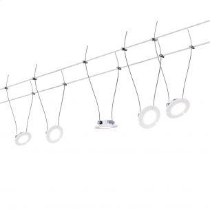 LED Komplett-Seilsystem für individuelle Lichtlösungen, Chrom-matt, max. 5 Meter, inklusive 5x 4Watt Spots, 10Meter Seil und Trafo
