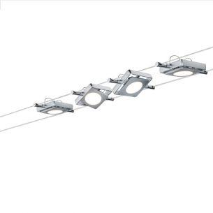 LED Komplett-Seilsystem für individuelle Lichtlösungen, Chrom, max. 5 Meter, inklusive 4x 4Watt Spots, 10Meter Seil und Trafo