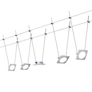 LED Komplett-Seilsystem für individuelle Lichtlösungen, Chrom-Satin, max. 5 Meter, inklusive 5x 4Watt Spots, 10Meter Seil und Trafo