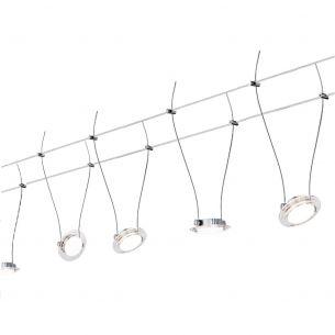 LED Komplett-Seilsystem für individuelle Lichtlösungen, Chrom-matt-Acryl , max. 5 Meter, inklusive 6 x 4Watt Spots, 10Meter Seil und Trafo