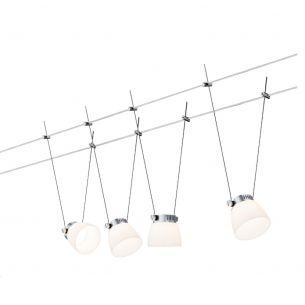 LED Komplett-Seilsystem für individuelle Lichtlösungen, Chrom-Weiß , max. 5 Meter, inklusive 4 x 4Watt Spots, 10Meter Seil und Trafo