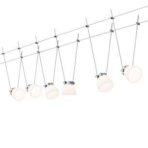 LED Komplett-Seilsystem für individuelle Lichtlösungen, Chrom-Weiß , max. 5 Meter, inklusive 6 x 4Watt Spots, 10Meter Seil und Trafo