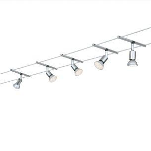 LED Komplett-Seilsystem für individuelle Lichtlösungen, Chrom-Opal , max. 5 Meter, inklusive 6 x 4Watt GU5,3 Spots, 10Meter Seil und Trafo