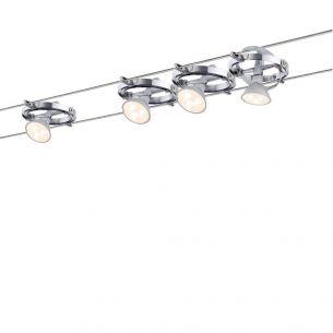LED Komplett-Seilsystem für individuelle Lichtlösungen, Chrom-Chrom, max. 5 Meter, inklusive 4 x 4Watt GU5,3 Spots, 10Meter Seil und Trafo