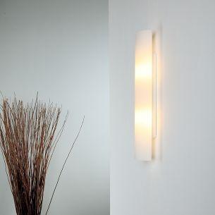 Wandleuchte mit opal-weißem Glas in 40cm Länge - inklusive Halogenleuchtmittel 2x 33 Watt, 40,00 cm