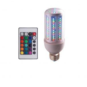 LED Leuchtmittel Kolbenform E27 - RGB SMD LED, 6W mit Farbwechselprogramm - inklusive Fernbedienung