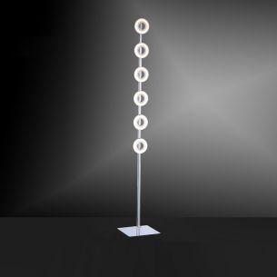 Moderne LED-Stehleuchte Chrom/Glas - inklusive 6x4,2Watt LED - warmweißes Wohnlicht, 3000K, 1890Lumen