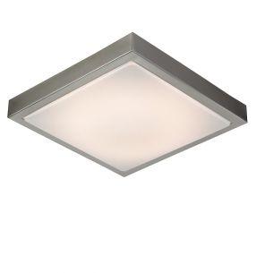 LED-Deckenleuchte aus gebürstetem Stahl und Acrylabdeckung - 30 cm x 30 cm - Inklusive LED 16 Watt 1400 Lumen 3000 Kelvin