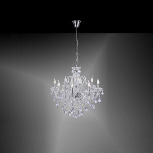 Eleganter 8-flammiger Kronleuchter mit Kristallbehang - E14 - in drei Farben wählbar