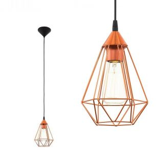 Pendelleuchte in Schwarz oder Kupfer - geometrisches Design, Ø 17,5cm - 1flammig