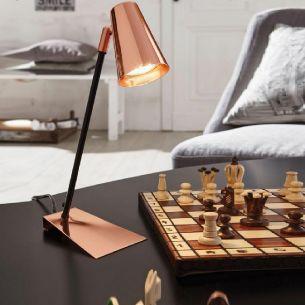 LED-Schreibtischleuchte in kupferfarbig - schwarz, Höhe 37cm - inklusive GU10LED 3Watt, 200ml, 3000K